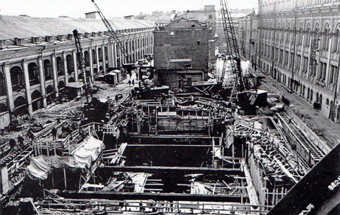 Строительство станции метро- Гостиный двор, Ленинград