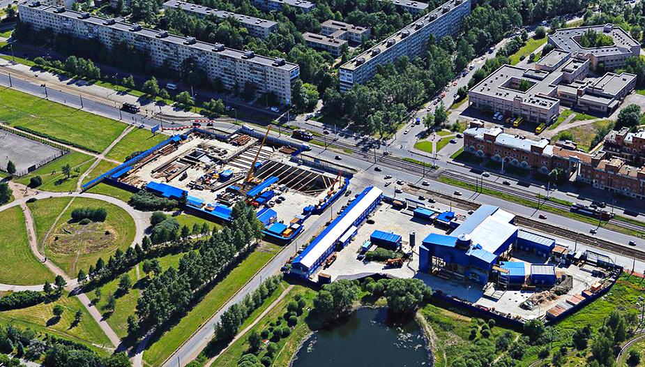 Строительство станции метро Проспект славы