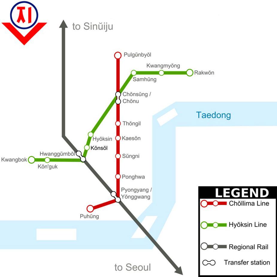 Схема метро Пхеньяна