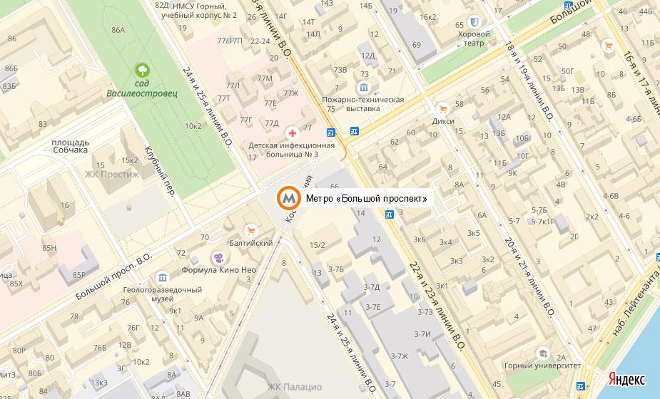 Местоположение станции метро «Большой проспект»