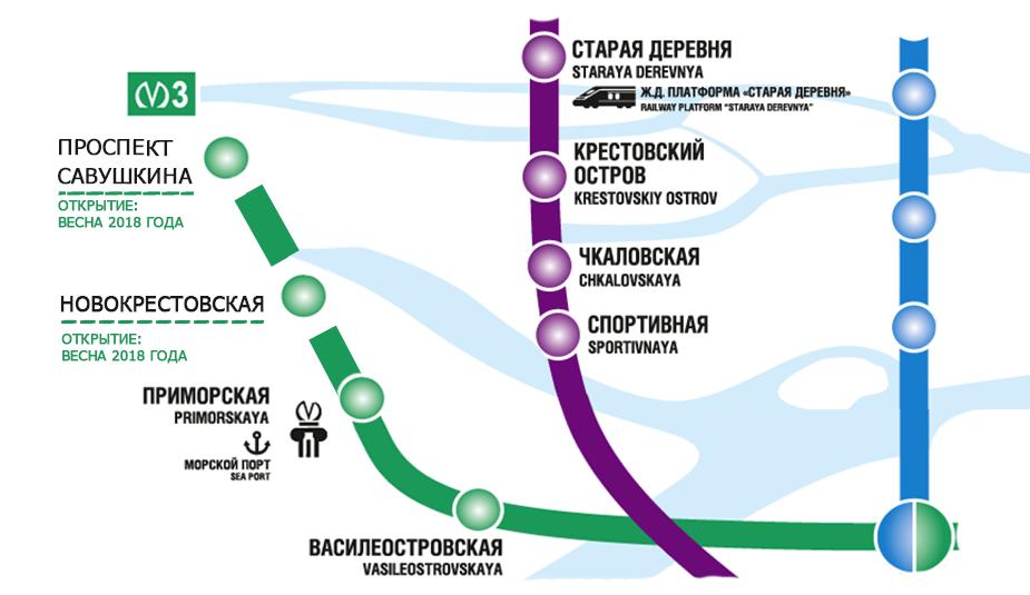 метро - «Новокрестовская» и «Улица Савушкина» на схеме метро