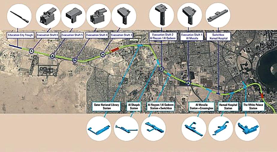 Схема строительства метро в Доха