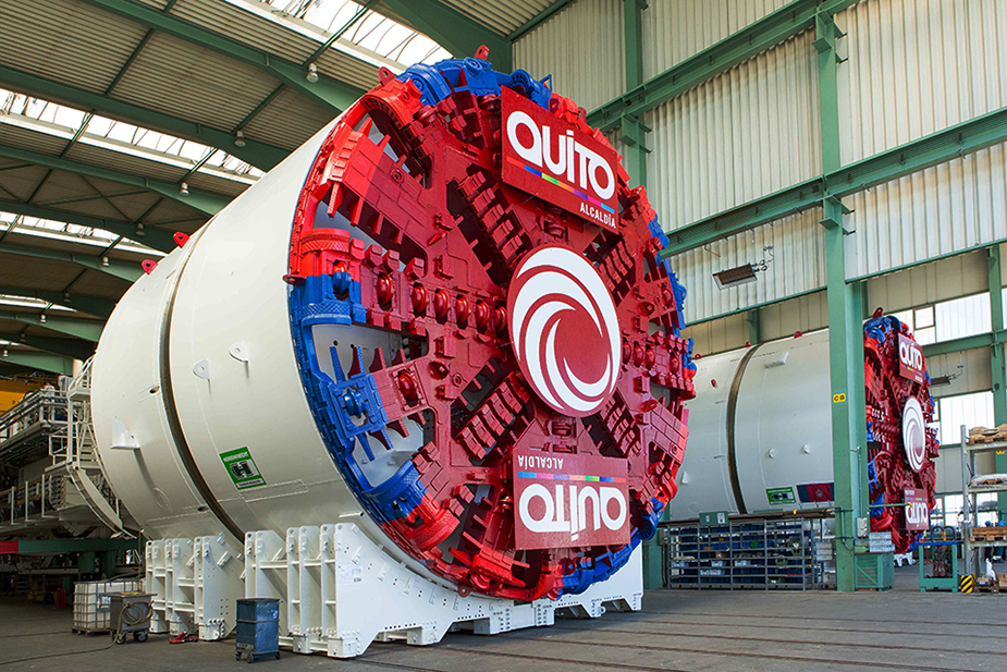 The Herrenknecht TBM at the construction of the metro in Quito