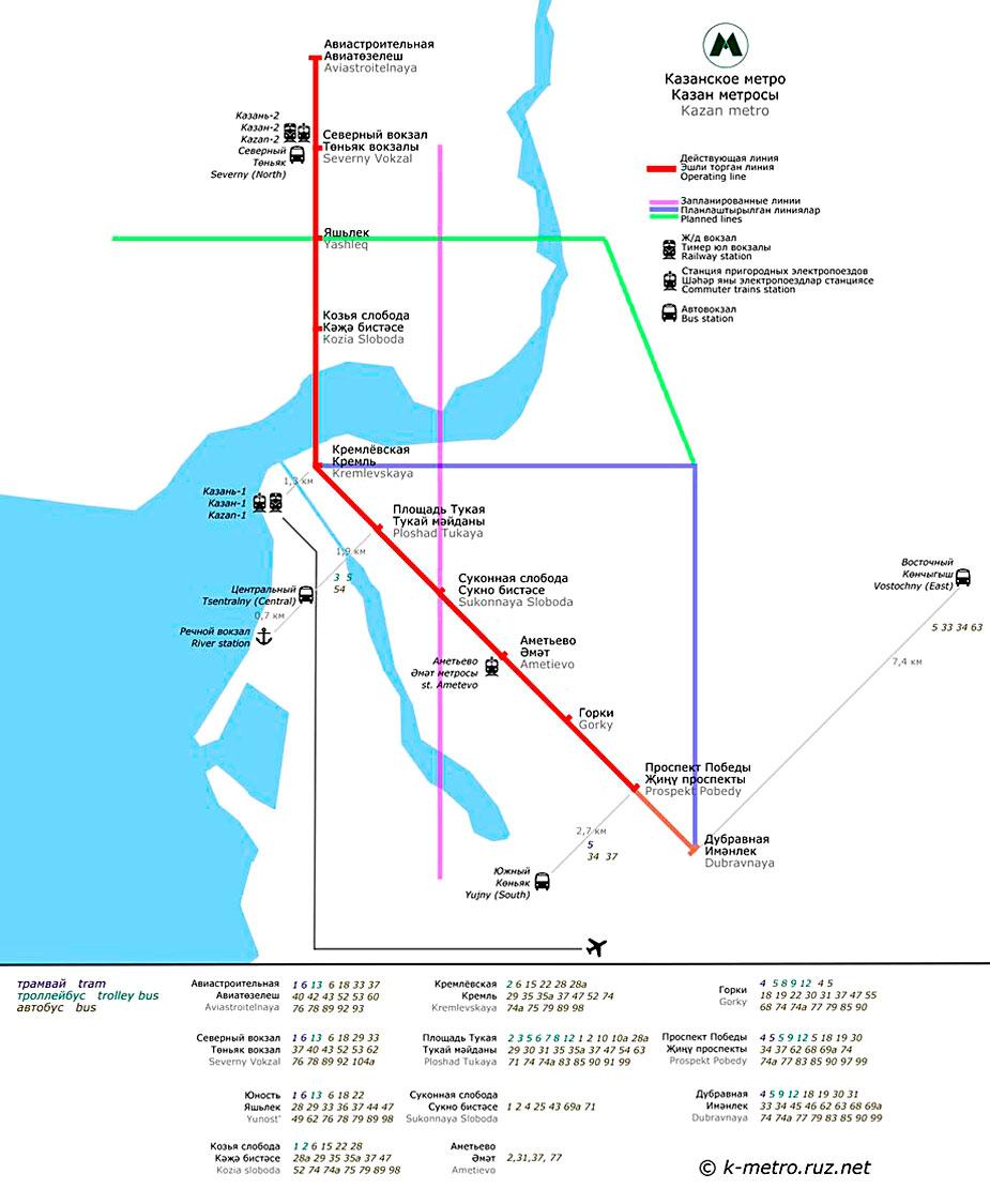 карта метро казанского метро