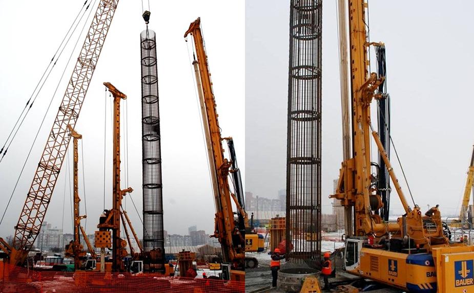 Строительство Лахта Центра - свайное основание