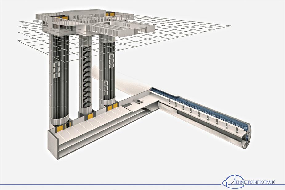 Станция в двухпутном тоннеле, совмещенная с блоком вестибюльных сооружений, включающих лифтовые спуски с трехуровневыми лифтами