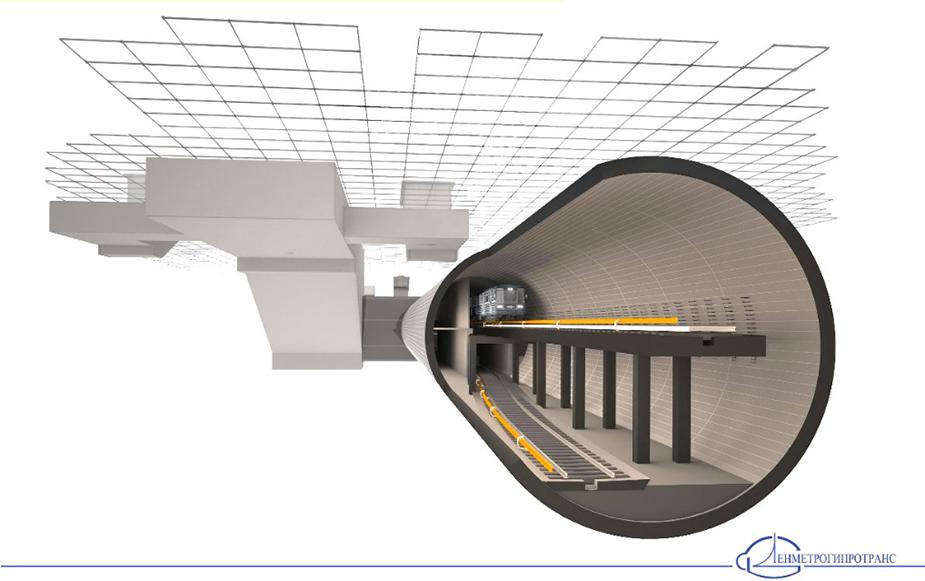 Рис 3. Станции метро в двухпутном тоннеле