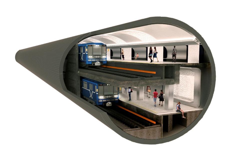 Рис.2 Станция в двухпутном тоннеле. Интерьер с применением светопрозрачных и светопроводящих облицовочных материалов
