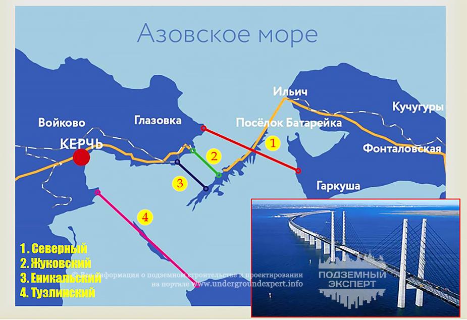 Схема расположения Керченского моста