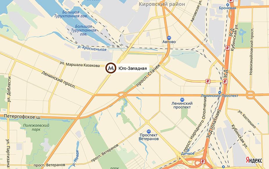 Схема расположения станции метро Юго-Западная