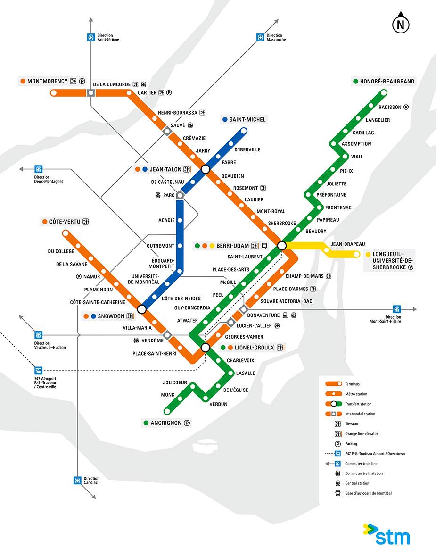 Схема метро Монреаля