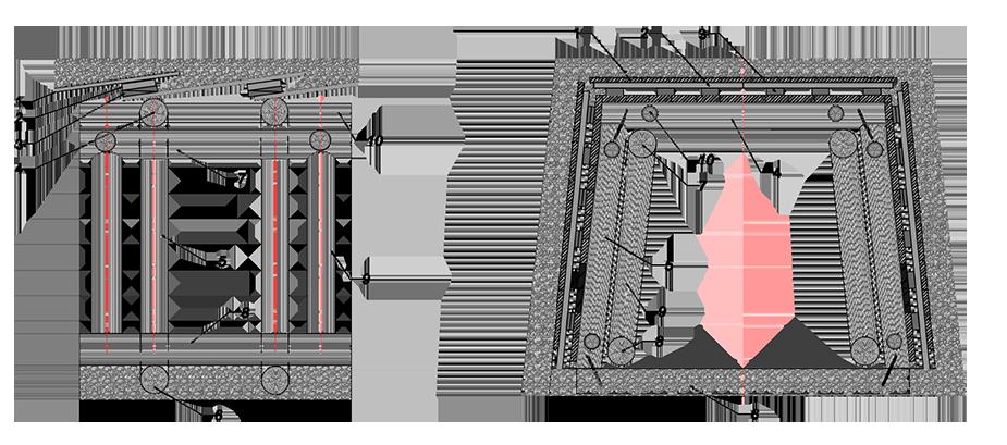 Конструкция деревянной временной крепи в слабых пучинистых грунтах