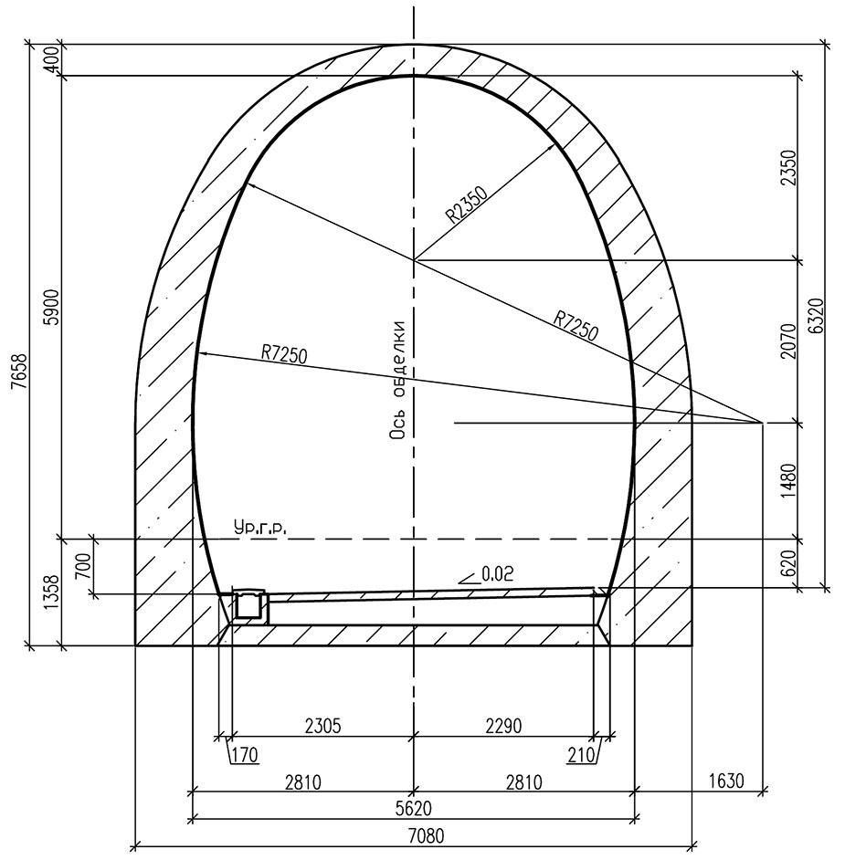 Обделка однопутного железнодорожного тоннеля с вертикальными стенами и плоским лотком