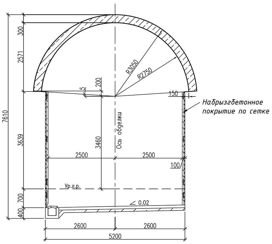 Обделка однопутного железнодорожного тоннеля в скальных трещиноватых грунтах сводом, опирающимся на породу