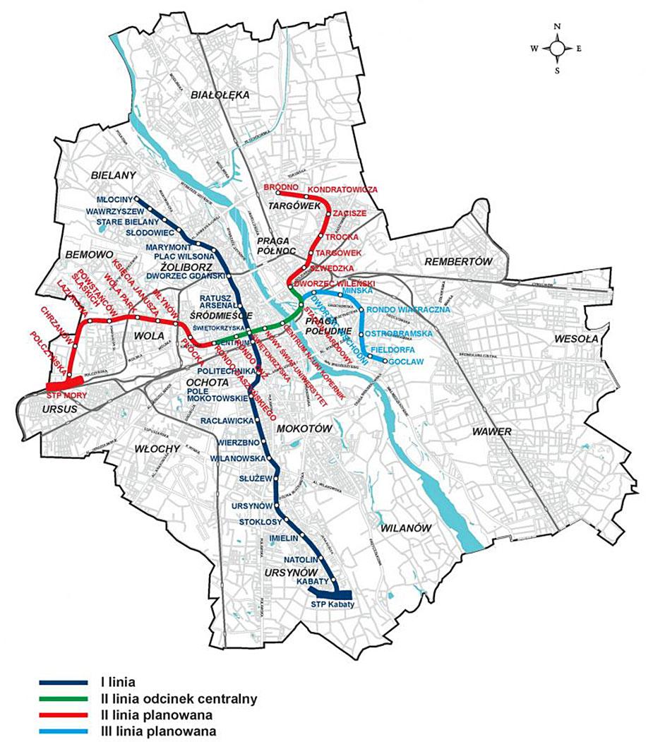 Схема варшавского метро