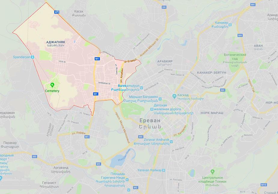 Карта Еревана
