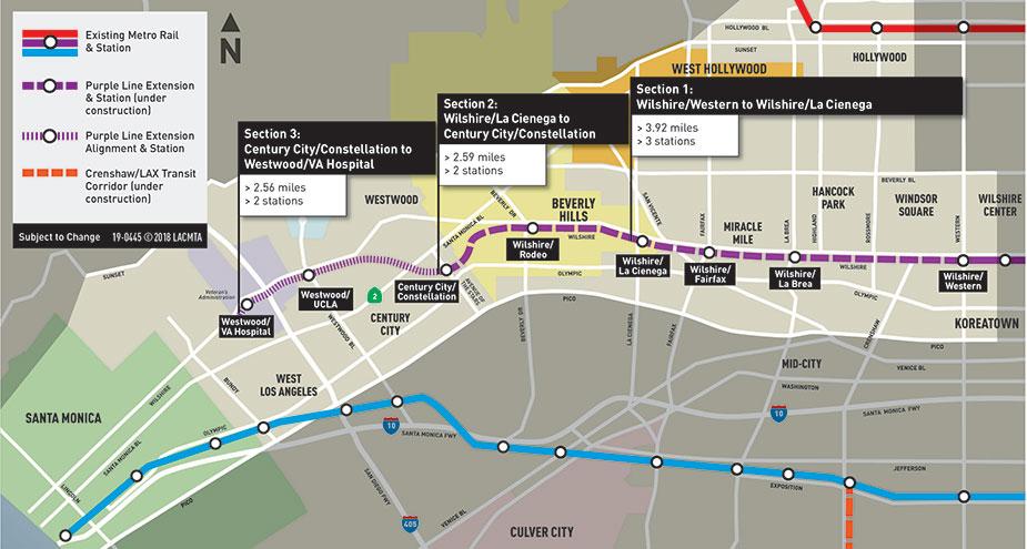 Схема расположения фиолетовой линии метро Лос-Анжелеса