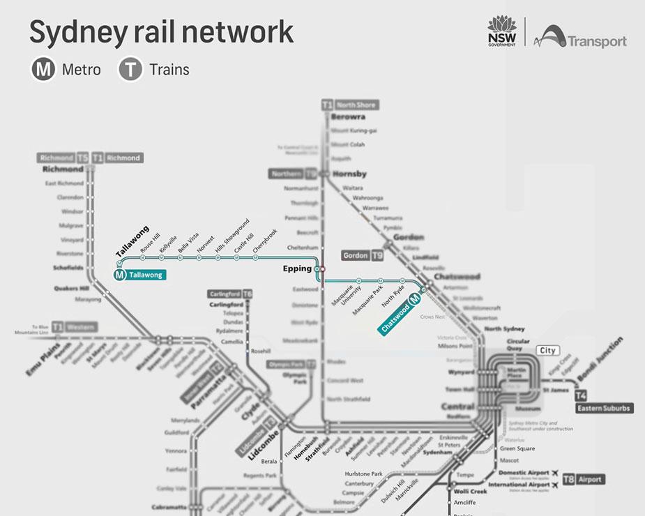 схема метро Сиднея