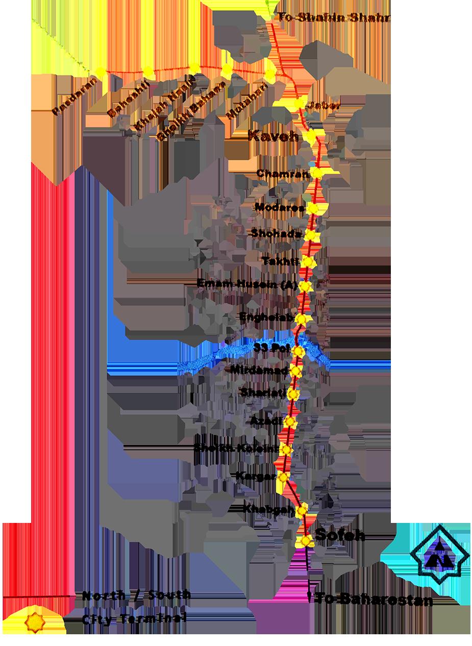 Схема первой линии метро в Исфахане
