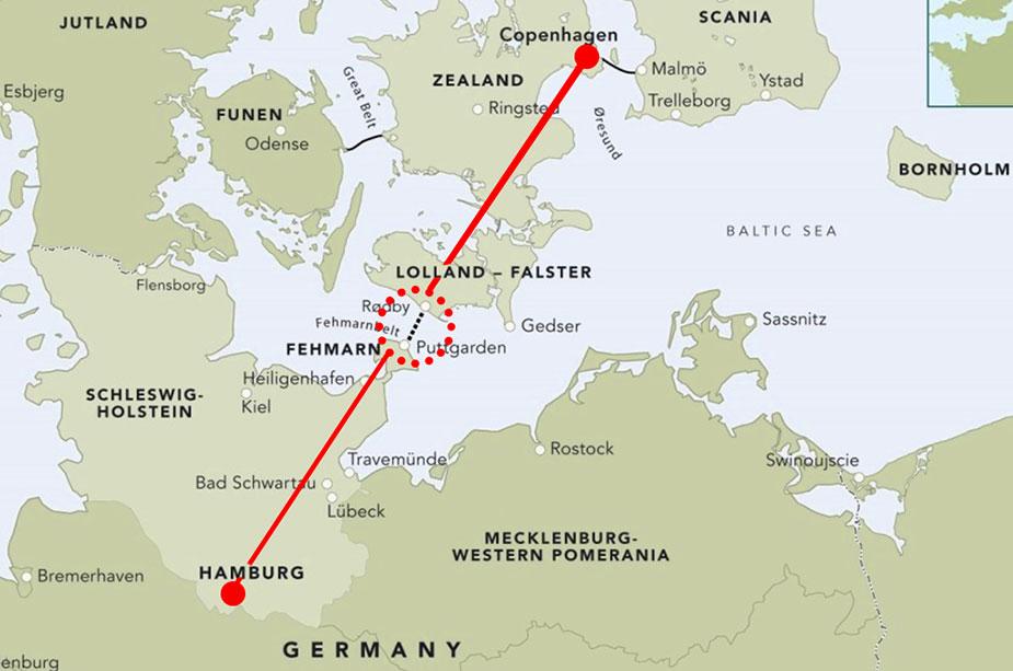 карта расположения Фемарнбельтского тоннеля