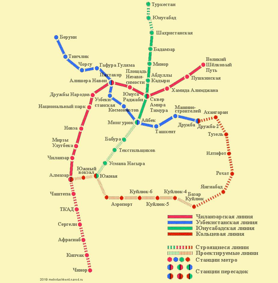 Схема метро Ташкента