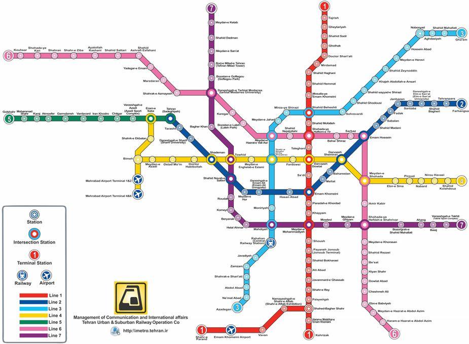 Teheran metro map
