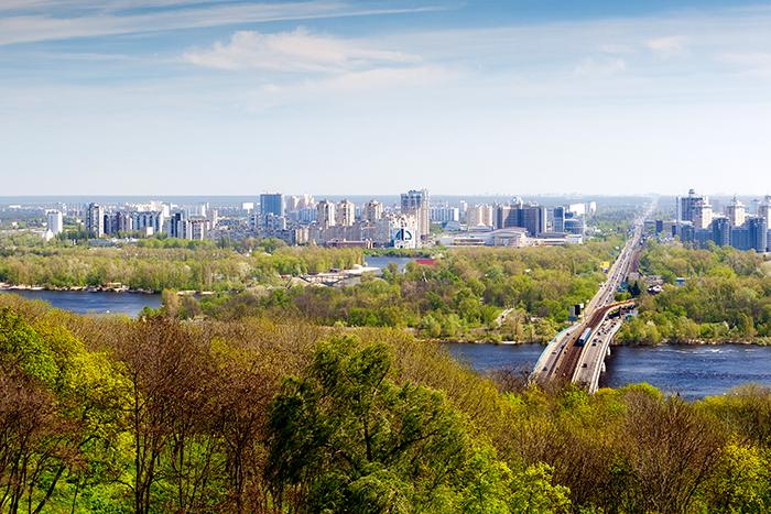 Панорама Киева, вид на метромост