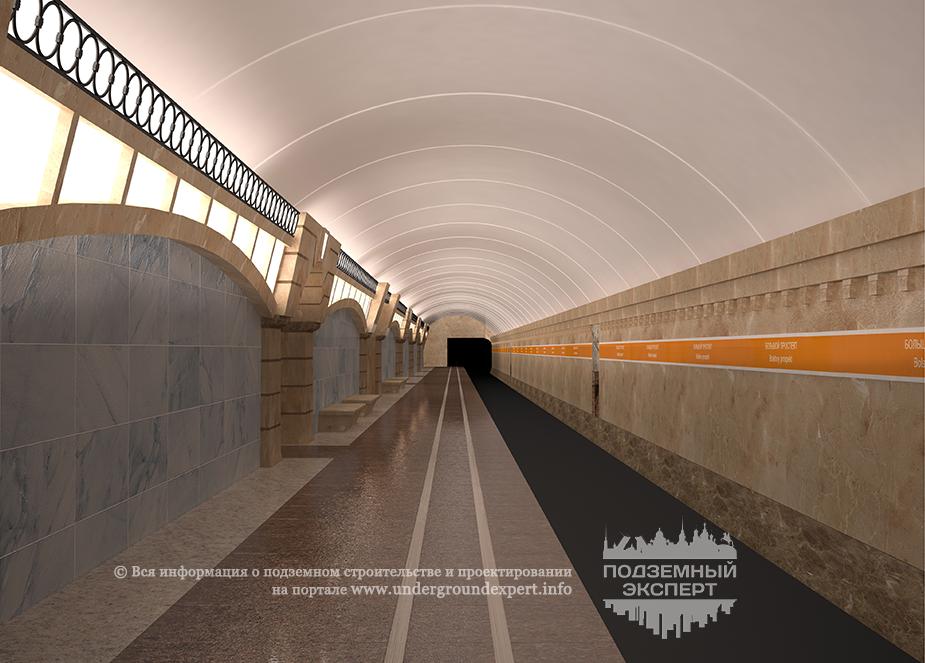 Боковая платформа станции Большой проспект