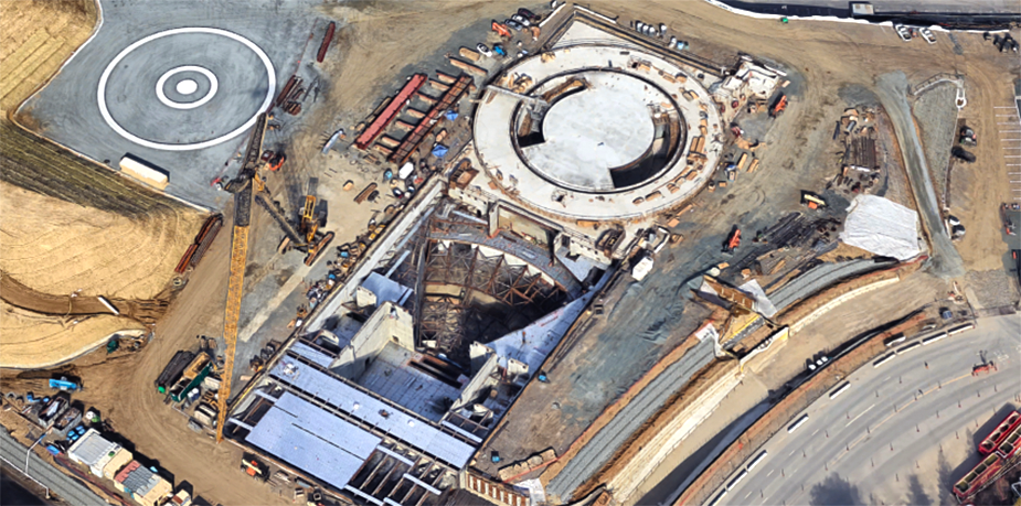 The construction of the Apple campus