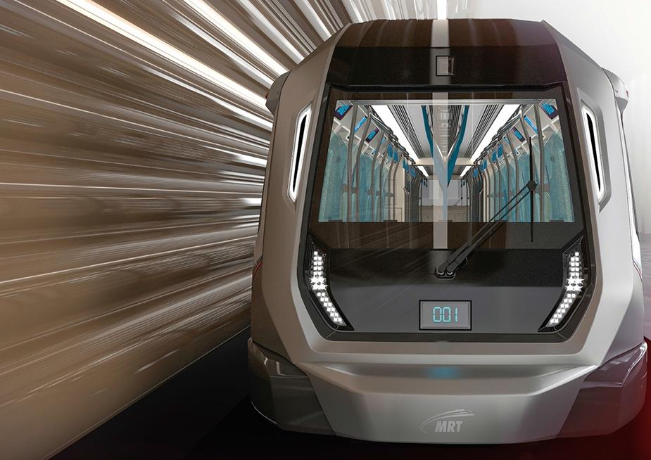 Современный поезд на линии MRT- системе подземных скоростных транзитных линий в Сингапуре