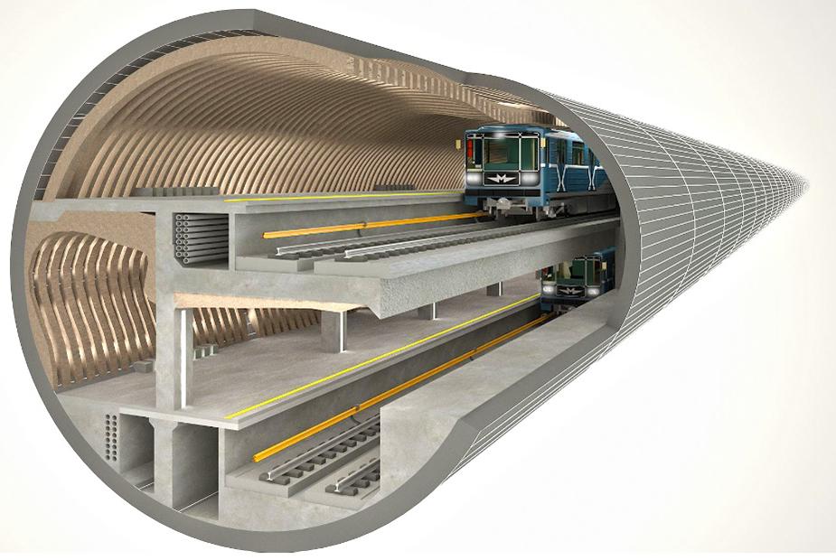 Рис 1. Станция в двухпутном тоннеле. Интерьер с применением звукопоглощающих конструкций в облицовке сводов пассажирских платформ