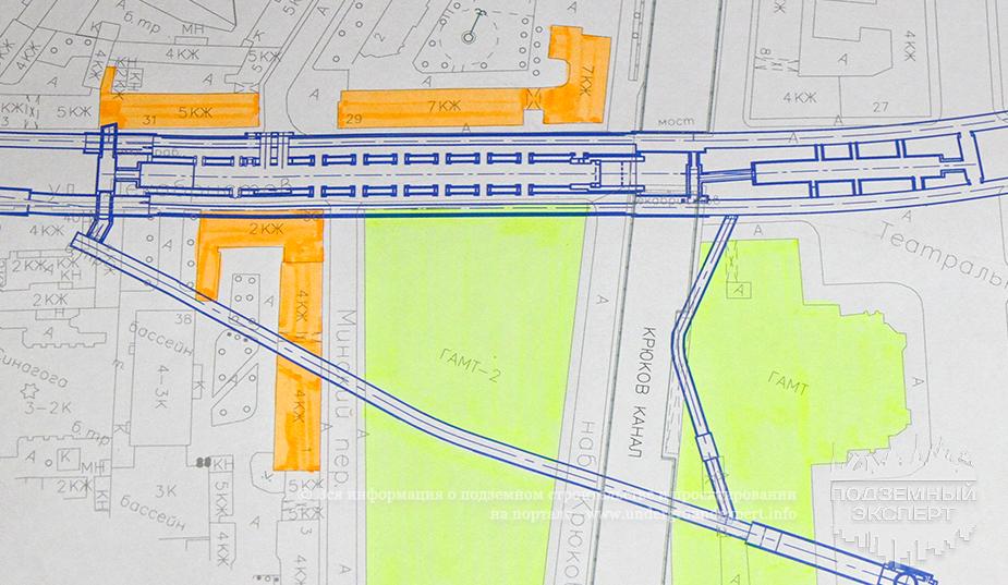 Схема строительства станции Театральная