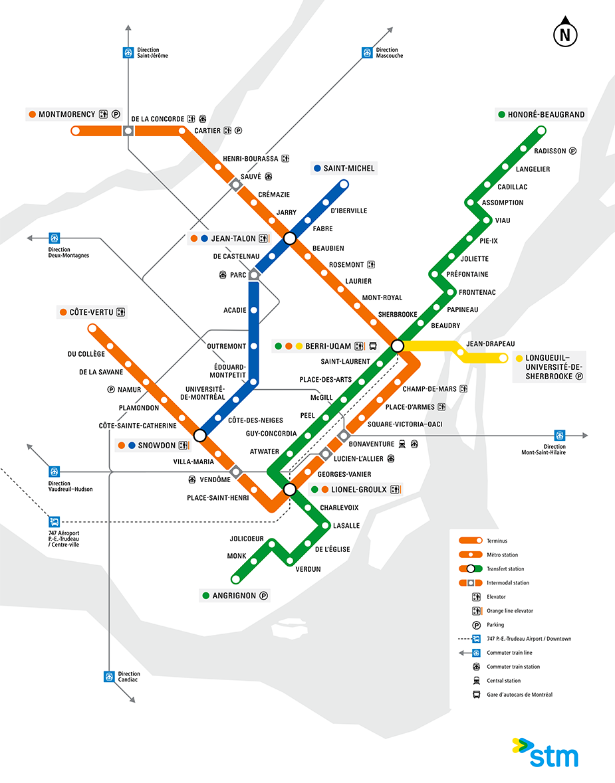 Карта метро Монреля