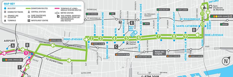 Транзитные маршруты в центре Монреаля