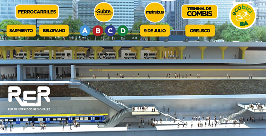 The design projects for Obelisco station near the monument the 400 anniversary of the city foundation