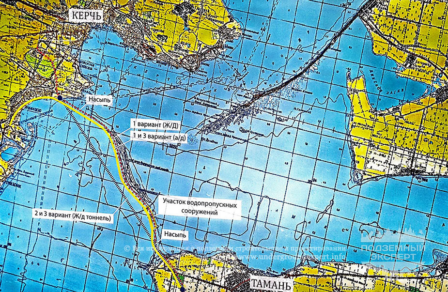 Схема тоннеля через Керченский пролив