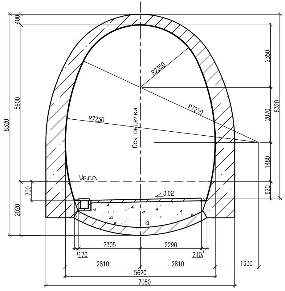 Обделка однопутного железнодорожного тоннеля подковообразного очертания с обратным сводом